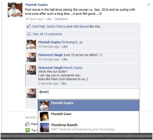 Tagged Manish in a Comment